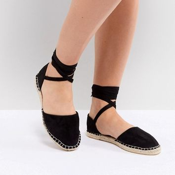 New Look Wide Fit Ankle Tie Flat Espadrille at asos.com