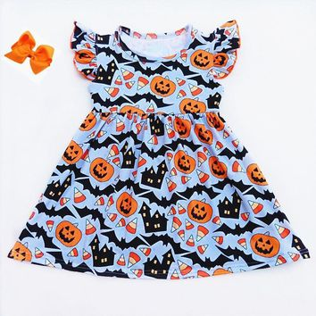 Halloween Blue Orange Dress Baby Short Sleeve Pumpkin Milksilk Flutter Dress Toddler's Boutique Clothing Match Bow