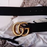 Genuine Women's black leather Gucci gg belt size 85
