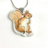 Little Girls Jewelry, Little Girl Gifts, Kids Necklace, Broken China Necklace, Squirrel Nutkin Peter Rabbit Baby Shower Gift for New Baby