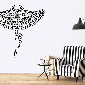 Tribal Manta Ray Ocean Marine Sea Decor Wall Mural Vinyl Decal Art Sticker M442