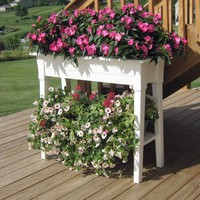 Raised Planter in White Resin - Great for Herbs Vegetables & Flowers