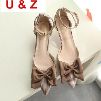 Clearence! Checked pattern office women cotton low heels shoes,Korea style silk satin bow ankle strap 40mm kitten heels