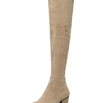 Apricot Suedette Block Heeled Over The Knee Boots
