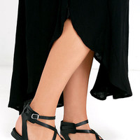 Boho Babe Black Thong Sandals