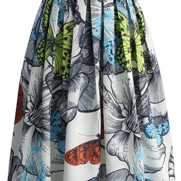 Rendered Butterfly Pleated Midi Skirt