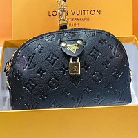 LV Louis Vuitton New  fashion monogram leather chain fan shaped crossbody bag shoulder bag handbag Black
