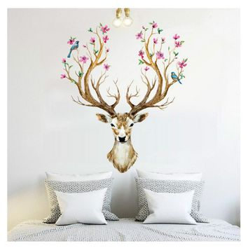 Flower Deer Wall Decal Sticker Decor