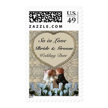 Spanish White Bride & Groom Wedding Postage