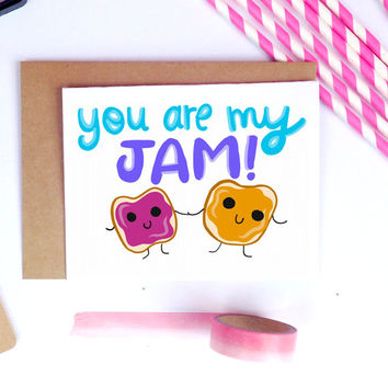 Valentine Card, Boyfriend Gift, For Him, Anniversary, Cute, Kawaii Gifts, Peanut Butter and Jelly, PB + J