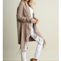 MOCHA BROWN LONG SLEEVE OPEN FRONT KNIT CARDIGAN DUSTER WITH FRINGE DETAILS