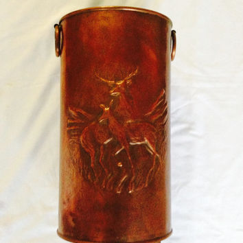 French Vintage Copper Umbrella Stand Copper Pot Coal Skuttle Shipping Included