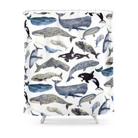 Society6 Whale Song Shower Curtains