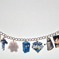 Doctor Who Charm Bracelet Matt Smith Dalek Tardis Fez Cybermen Sonci Screwdriver Addipose Dr. Doctor Who