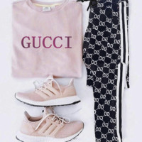 Gucci Women Men Trouser Print Stripe Long Pants Black