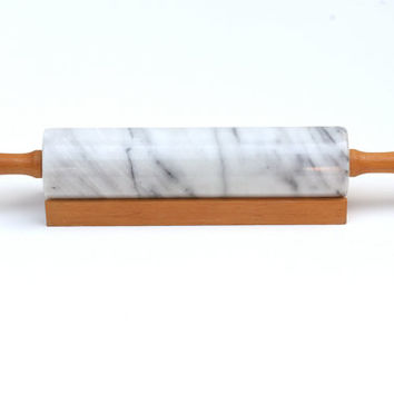 Vintage Gray White Marble Wood Rolling Pin, Mid Century, Hollywood Regency Style, Glam Kitchen Rolling Pin, Baking Designer Dough Pin