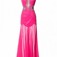 KC131540 Pink Sheer Prom Dress by Kari Chang Couture