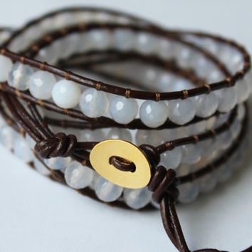 Five Wrap Leather Bracelet - Brown Leather and White Agate Bead - Layering Bracelet - Bohemian Jewelry - Boho Chic