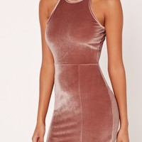 Missguided - 90's Neck Split Hem Velvet Bodycon Dress Pink