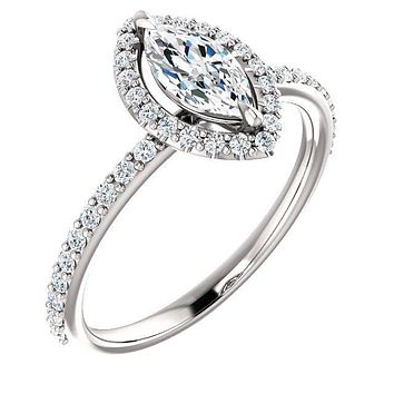 Marquise Moissanite Diamond Accent Ice Halo Ring