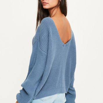 Missguided - Blue V Back Basic Jumper