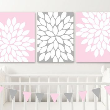 Pink Gray Flower Wall Art, Pink Gray Nursery Wall Art Decor, Pink Gray Flower Bedroom CANVAS or Prints, Pink Gray Flower Bathroom Set of 3