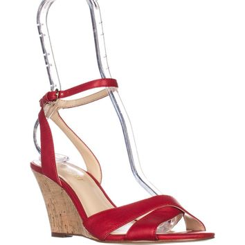 Nine West Kami Ankle-Strap Wedge Sandals, Red Leather, 9 US