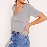 Missguided - V Neck Cross Strap Front T Shirt Grey