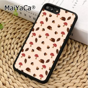 MaiYaCa Cute Hedgehog Mushroom Nut Pattern Phone Case Cover For iPhone 5 5s 6 6s 7 8 X XR XS max Samsung Galaxy S6 S7 S8 S9 plus