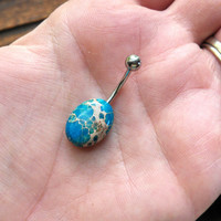 Oval Aqua Terra Jasper Belly Button Jewelry Ring