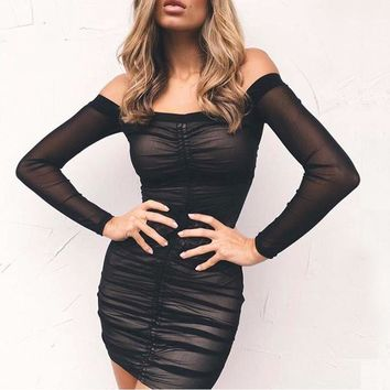 Garden Strapless Off Shoulder Long Sleeve Lift Up Drawstring Ruched Pleated Mesh Women Body Con Club Party Mini Dress New
