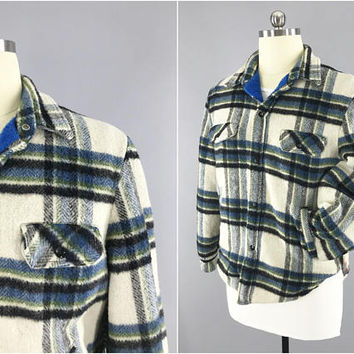 1960s Vintage / Mens Winter Coat / Blue Plaid Flannel Jacket / Towncraft JC Penneys Jacket / Blue Fleece Lined / Size 44 / 60s Flannel Shirt