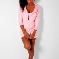 Macey Coral & White Hooded Lounge Playsuit | Pink Boutique