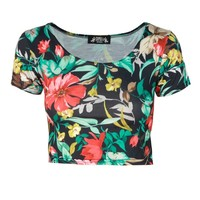 Egzotic Floral Print Short Sleeve Black Crop Top