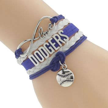 Infinity Love DODGERS baseball Sports Team Bracelet Customize Sports friendship Bracelets