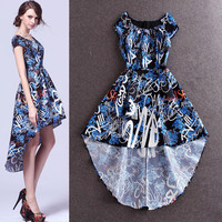 Cap Sleeve Gaphic Printed Irregular Swing Dress