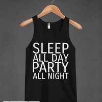Sleep All Day Party All Night-Unisex Black Tank