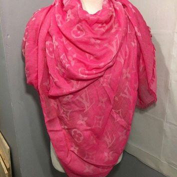 VONEIR6 Louis Vuitton Fushia Silk, Wool, Cotton Shawl Scarf