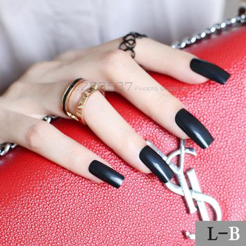 New Pure Super Long Square head black fake nail Candy solid color Full Wrap for Simple Lady Acrylic Art False nails 20pcs L-B