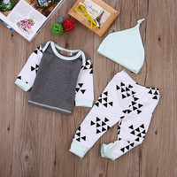 3pcs Baby Boy Girl Kids Newborn Infant Baby Shirt Tops Pants Hat Cap Clothes Autumn Outfits Clothing Set