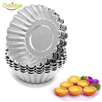 Delidge 10 pcs /lot Flower Shape Egg Tart Molds Aluminum Metal 7 cm Cupcake Cake Cookie Molds Tin Baking Egg Tart Tools