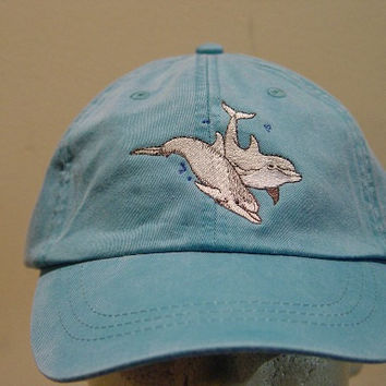 TWO DOLPHINS HAT - One Embroidered Wildlife Cap - Price Embroidery Apparel - 24 Color Caps Available