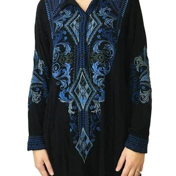 ESBYW3 Johnny Was Maxence Challis Blouse Black
