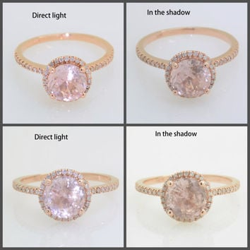 1.38 carat untreated peach champagne sapphire, Rose gold, diamonds halo engagement ring JOAN-942P