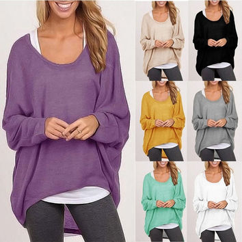 Autumn Womens Loose Long Sleeve Blouse Tees Casual Tops Pullover = 5658042945