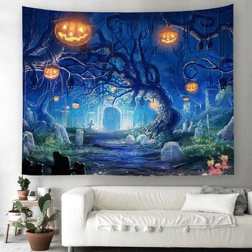 Halloween Pumpkins Tree Wall Tapestry Hanging Decoration