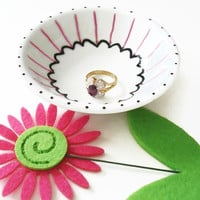 Hand Painted Ring Dish or Tea Light Candle Holder in Black and Pink can be personalized with name or initials