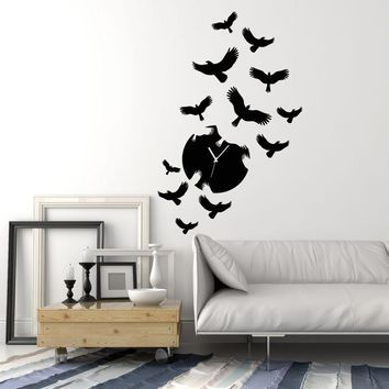 Vinyl Wall Decal Clock Silhouette Flock Of Birds Ravens Stickers (2222ig)