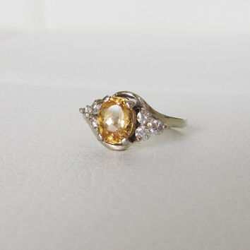 14k Estate Vintage Oval cut Gold Citrine Ring Gemstone Halo Diamonds Yellow Gold Art Deco Edwardian Georgian Antique birthstone engagement