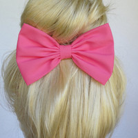 Pink Hair Bow Clip Hot Pink Bow Clip Adults Hair Clips Fabric Bow Hot Pink fabric bows for kids Cute Hair Bows for women bows Pink hair bows